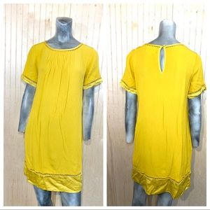 MEAVE XS Verdet Dress Tunic Mustard Yellow Texture